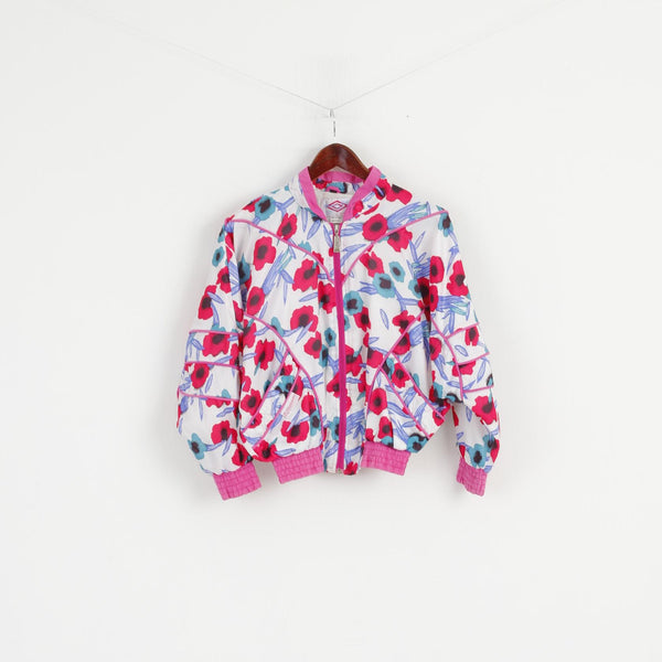 Diamond Cut By Umbro Girls 156 Jacket Pink Floral Bomber Zip Up Shpulder Pads Retro Top