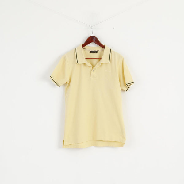 Barbour Men S Polo Shirt Yellow Cotton Detailed Buttons Plain Top