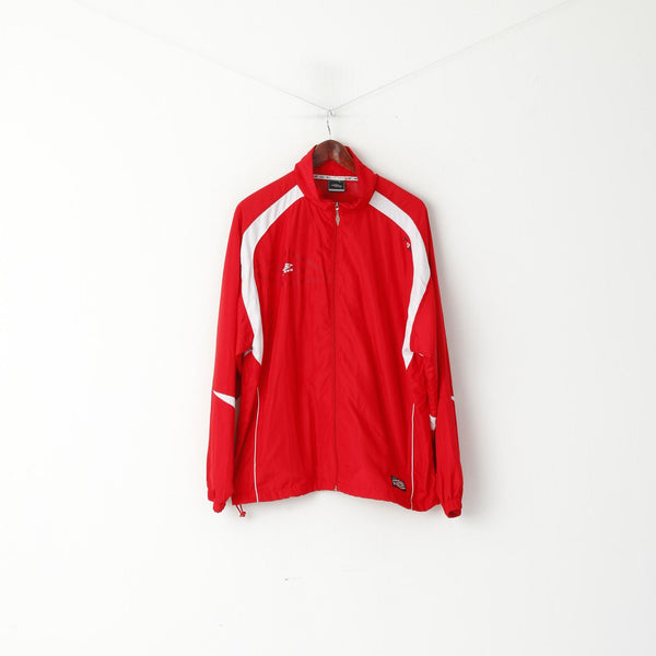 Umbro Men L Jacket Red T4F Activewear Bomber Lightweight Zip Up Sport Top