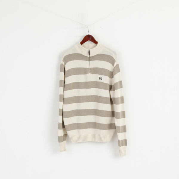 Chaps Men L Jumper Beige Striped 100% Cotton Zip Neck Classic Sweater Top