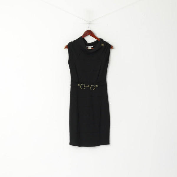 Jus D' Orange Paris Women XS Dress Black Sleeveless Pencil Stretch Viscose Gold Belt