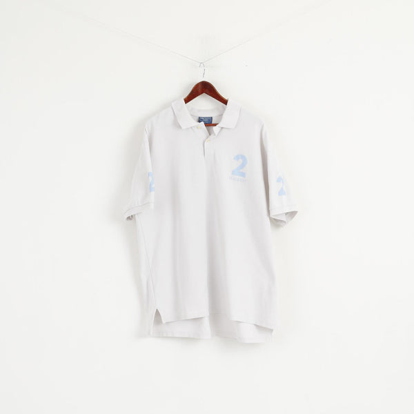 Hackett London Men XXL (XXXL) Polo Shirt White Cotton #2 Short Sleeve Top