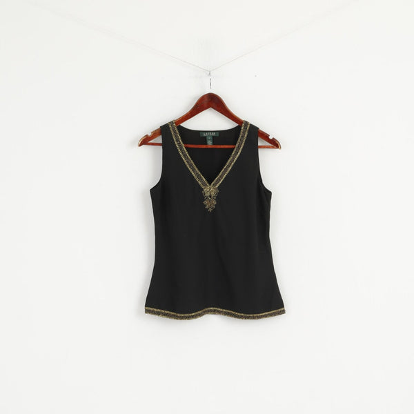 Lauren Ralph Lauren Women 2 S Shirt Black Soft V Neck Gold Detailed Elegant Tank Top