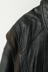 Marcos Men 52 L Bomber Jacket Black Leather Vintage Made In Italy Biker Shoulder Pads