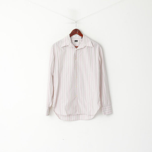 Paul Smith Men M Casual Shirt Pink Cotton Striped Long Sleeve Detailed Button Top