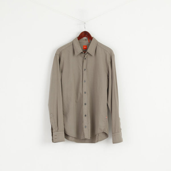 Hugo Boss Men L Casual Shirt Cotton Taupe Long Sleeve Slim Fit Classic Top