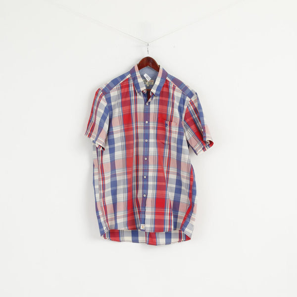 Pierre Cardin Men XL Casual Shirt French Heritage Blue Red Check Cotton Short Sleeve Top