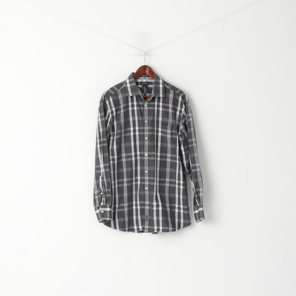 GANT Men L Casual Shirt Gray Check Cotton Del Mar Poplin Dress Fit Long Sleeve Top