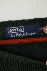 Polo by Ralph Lauren Men XXL Jumper Green Cable Knit Cotton Vintage Sweater