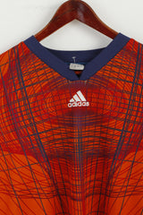 Adidas Mens XL Goalkeeper Orange Football Shirt V Neck Long Sleeve Jersay Top