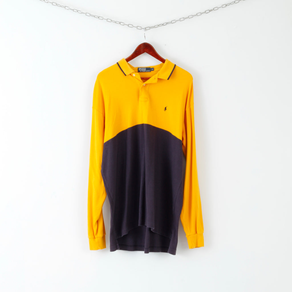 Polo By Ralph Lauren Mens XL Polo Shirt Navy Yellow Long Sleeve 100% Cotton