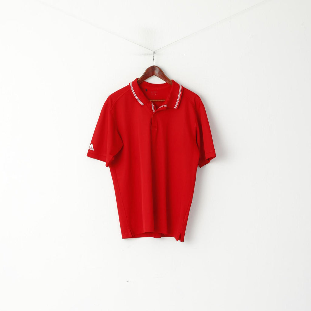 Adidas Men M Polo Shirt Red Classic Detailed Buttons Plain Jersey Top