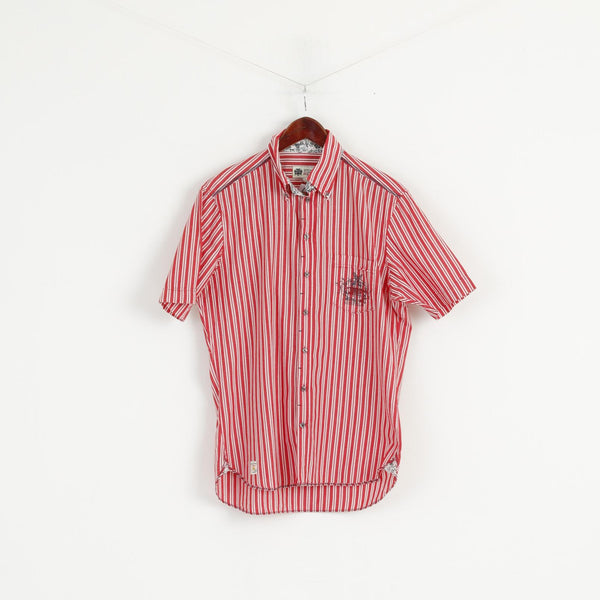Pierre Cardin Men S Casual Shirt Red Striped Vintage Classic Cotton Short Sleeve Top