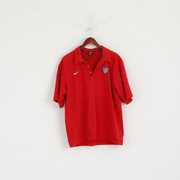 Nike Team Men L Polo Shirt Red Cotton USA Football Short Sleeve Vintage Top