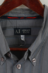 Armani Jeans Men XL (L) Casual Shirt Grey Blue Striped Cotton Long Sleeve Top