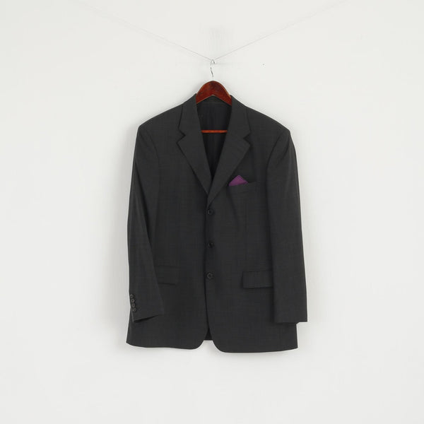 Hugo Boss Men 25 40 Blazer Charcoal Virgin Wool Da Vinci Single Breasted Jacket