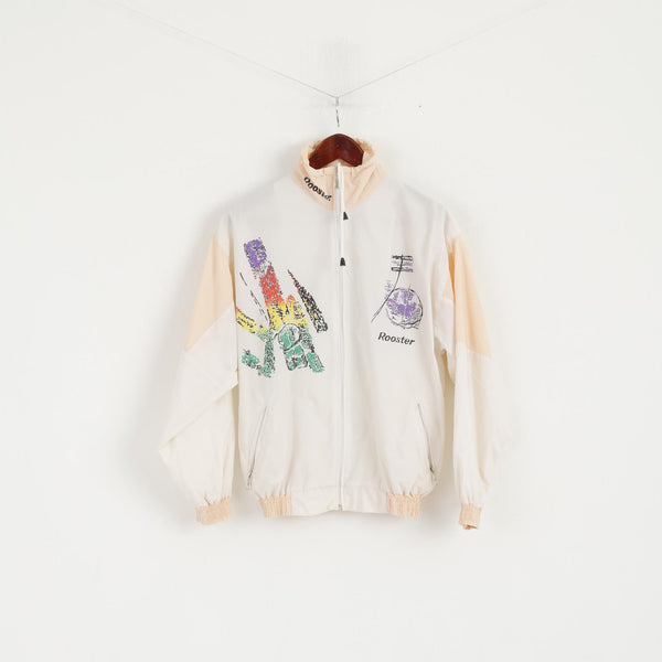 Rooster Women M Jacket Cream Tennis Festival Full Zipper Vintage 90s Germany Mode Top