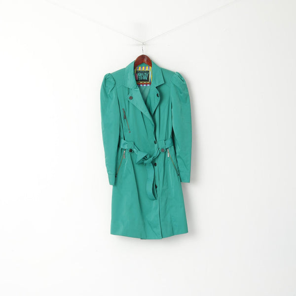 Butterfly by Matthew Williamson Women 12 40 Coat Green Shiny Belted Classic Trench