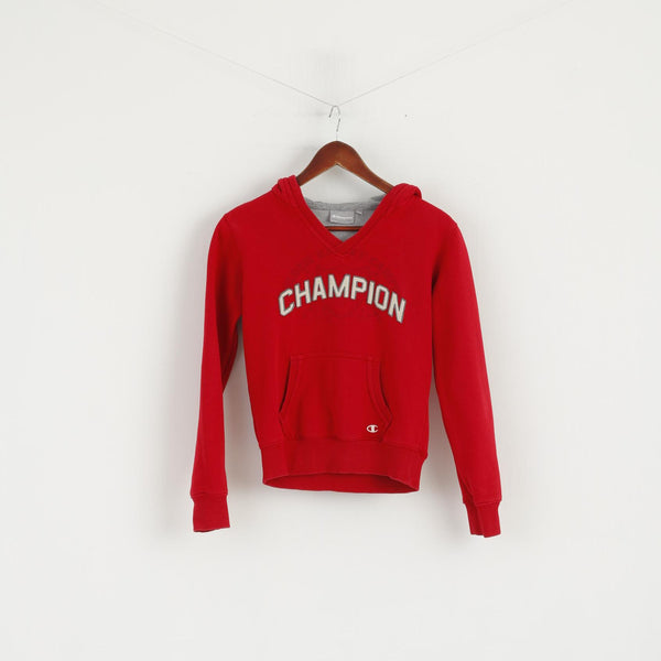 Champion Women 10 S Sweatshirt Red Cotton Hooded Kangaroo Pocket Sport Top
