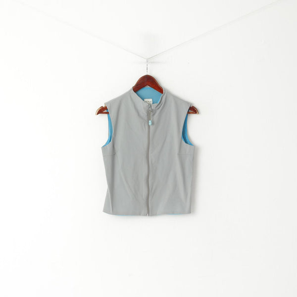 Calvin Klein Jeans Women L (S) Vest Grey Nylon Zip Up Cropped Sport Sleeveless Top