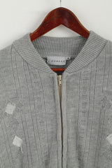 Cavalli Men M Sweater Grey Knit Full Zipper Cardigan Classic Wool Two Pockets Jumper