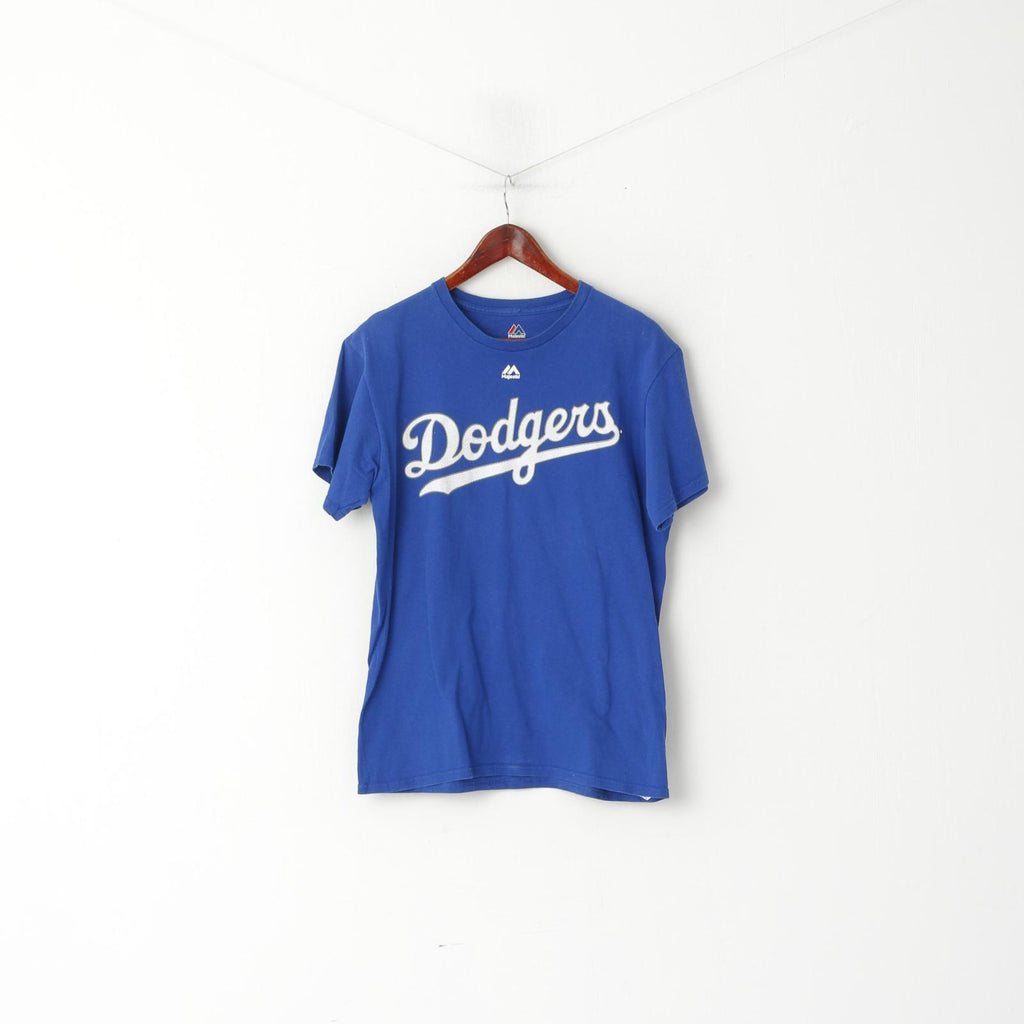Majestic Men M Shirt Blue Cotton Los Angeles Dodgers Baseball Sport Top