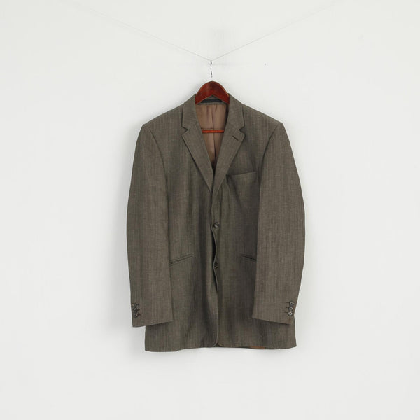 Studio Jeff Banks Men 50 40 Blazer Grey Wool Linen Blend Single Breasted Jacket