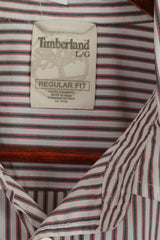 Timberland Men L Casual Shirt White Navy Striped Cotton Regular Fit Long Sleeve Top
