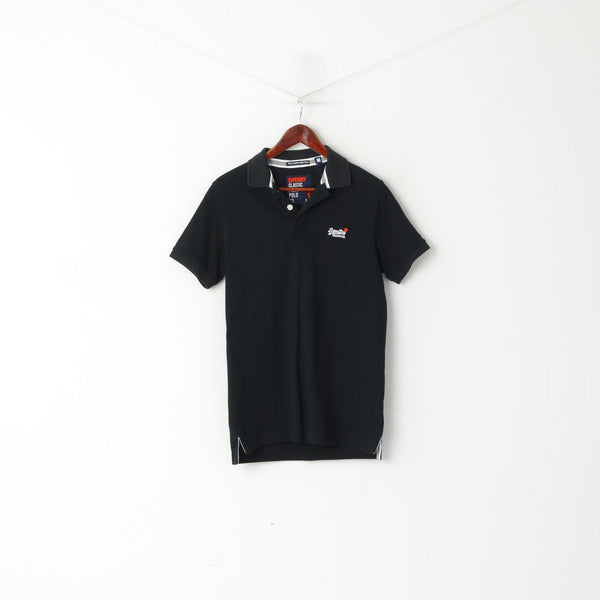 Superdry Men M Polo Shirt Black Classic Pique Detailed BUttons Short Sleeve Top