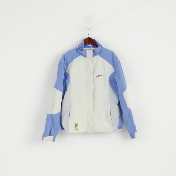 FILA Women 16 L Ski Jacket Beige Blue Snowboard Nylon Waterproof Zip Up Top