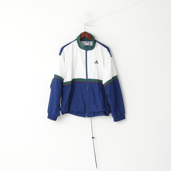 Adidas Men M Jacket White Navy Bomber Full Zipper Vintage Sportswear Track Top