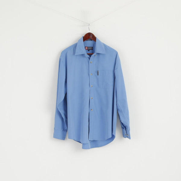 Chaps Ralph Lauren Men L Casual Shirt Blue Rayon Detailed Buttons Soft Long Sleeve Top