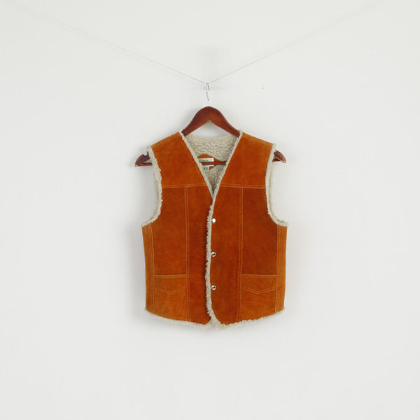 Genuine Leather Boys 10 Age Vest Brown Leather Imitation Wool Snaps Bodywarmer