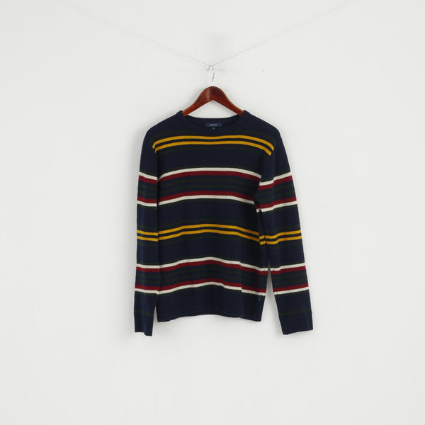 Gant Women M Jumper Navy Striped Wool Crew Neck Classic Sweater