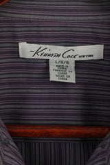 Kenneth Cole Mens L Casual Shirt Purple Striped Cotton Long Sleeve Top