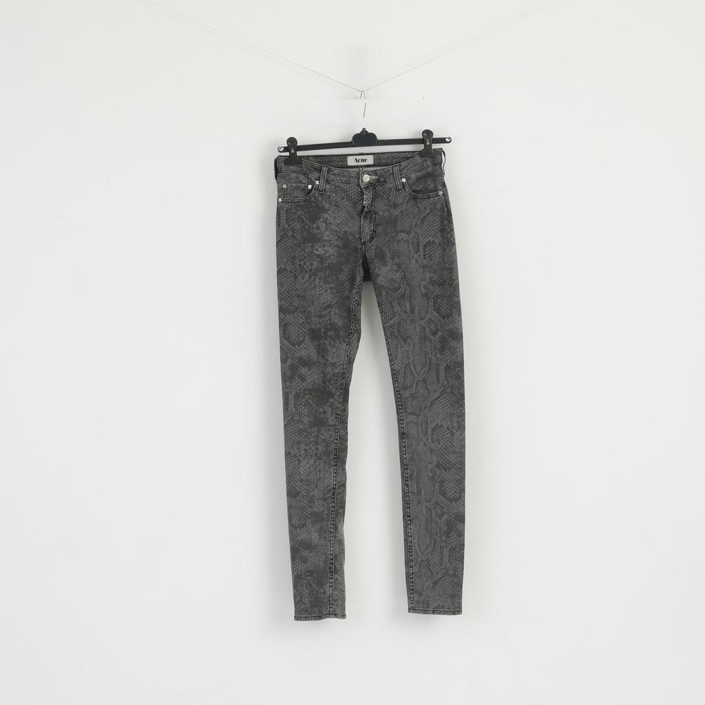 Acne Women 38 Trousers Gray Denim Pants Snake Pattern On A Daily Basic Denim