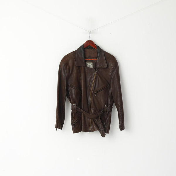 Lindbergh Women 40 M Leather Jacket Ramones Brown Soft Skin Full Zipper Retro Top