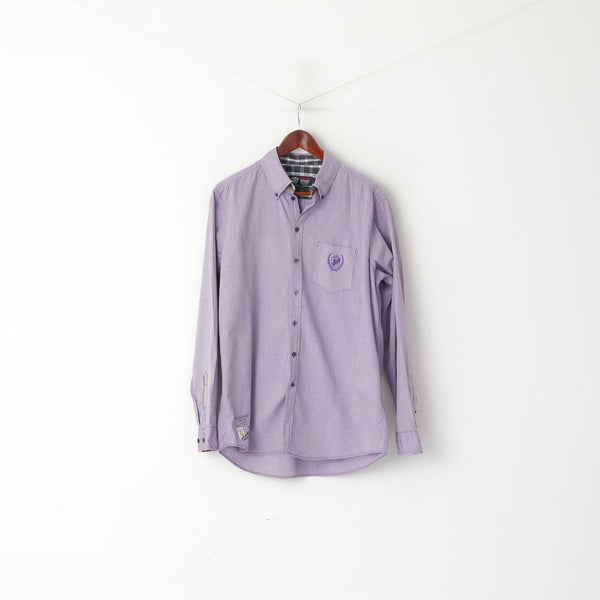 Pierre Cardin Men L Casual Shirt Purple Vintage Classic Cotton Long Sleeve Top