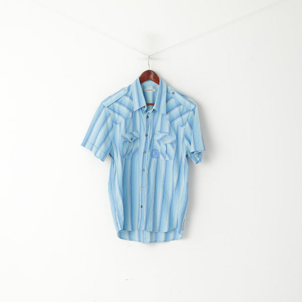 Duck and Cover Men L (M) Casual Shirt Blue Striped Cotton Snap Short Sleeve Retro Top