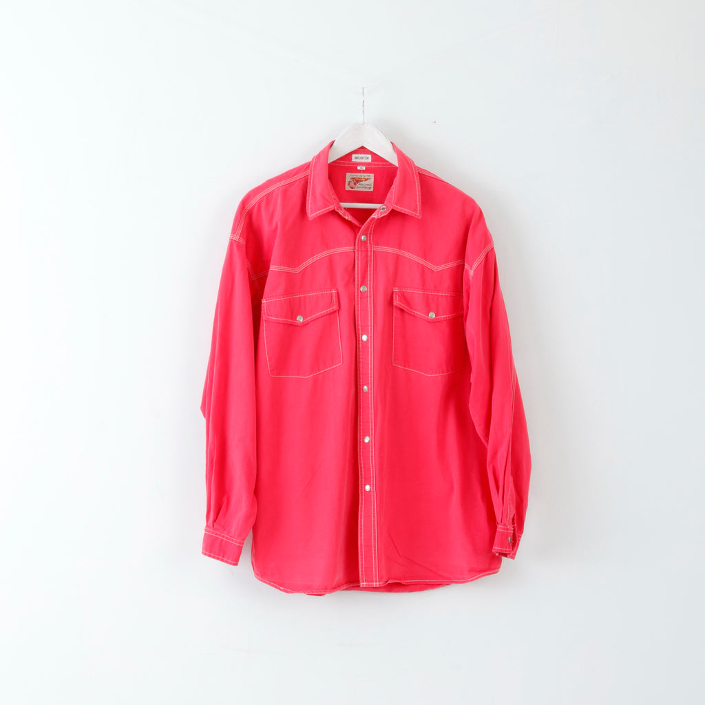 Trader Mens XL Casual Shirt Pink Long Sleeve Cotton Buttoned Breast Pockets