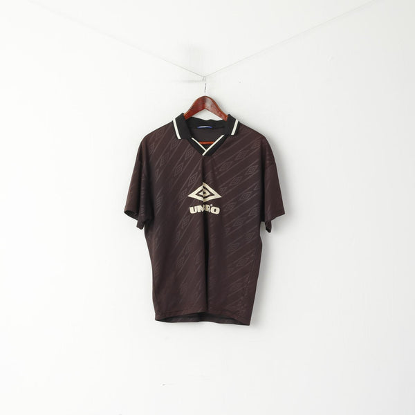 Umbro Men M Polo Shirt Brown Striped Shiny Vintage Sport Football Training Jersey Top