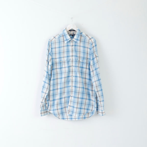 GANT Mens Casual Shirt L Long Sleeve Blue Cotton Checked Fitted