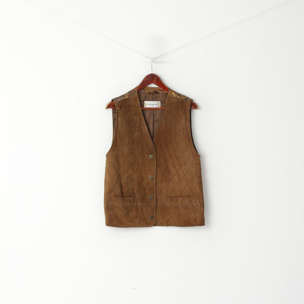 Fashion Collection International Women 14 42 Waistcoat Brown Leather Vintage Vest Top