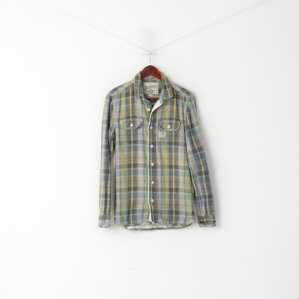 Superdry Men M Casual Shirt Green Checkered Faded Cotton Pocket Long Sleeve Retro Top