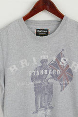 Barbour International Men S T-Shirt Grey Cotton Graphic British Standard Top