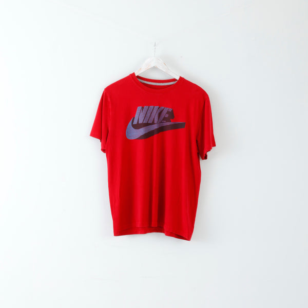 Nike Mens XL T-Shirt Red Crew Neck Cotton Logo Slim Fit