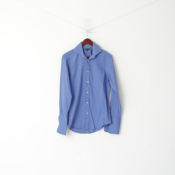 Jaeger Men 14.5 S Casual Shirt Blue Striped Cotton Long Sleeve Cufflinks Elegant Top
