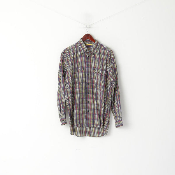 Camel Active Men L Casual Shirt Purple Check Cotton Long Sleeve Check Button Down Collar Top