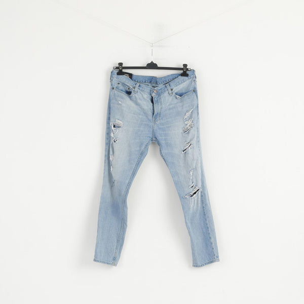Hollister Men 34 Jeans Trousers Light Blue Cotton Skinny Ripped Pants