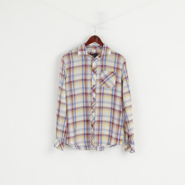 Diesel Men L (M) Casual Shirt Multi Checkered Cotton Purple Snaps Long Sleeve Top